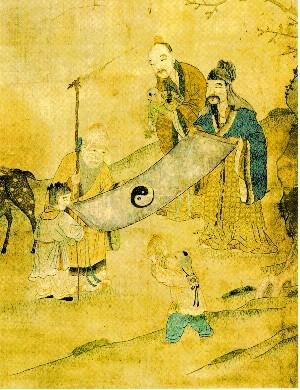 Chinese Painting showing 3 dieties with the Yin & Yang Symbol