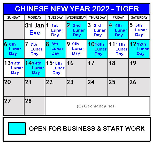 Chinese New Year Calendar 2022.Chinese New Year 2022 Is On 1st Day Tuesday 1 February 2nd Day Wednesday 2 February Tiger Year Under Construction What S New Fengshui Geomancy Net